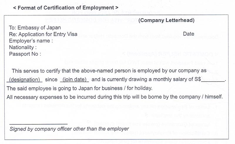 Hassle free door to door japan visa application certification of employment refer to the format here yadclub Choice Image
